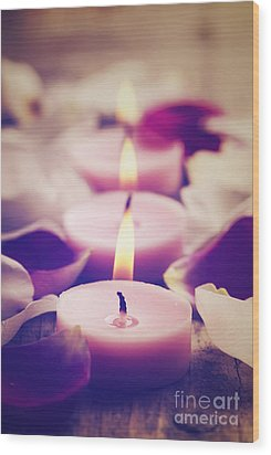 Spa Candles Wood Print by Jelena Jovanovic