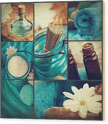 Spa Collage Wood Print by Mythja  Photography