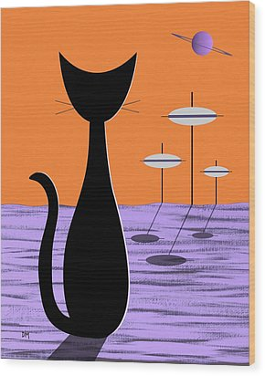 Space Cat Orange Sky Wood Print