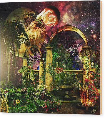 Wood Print featuring the mixed media Space Garden by Ally  White