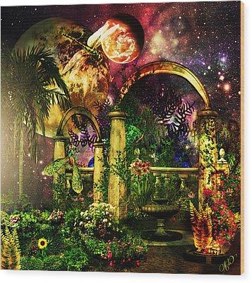 Space Garden Wood Print