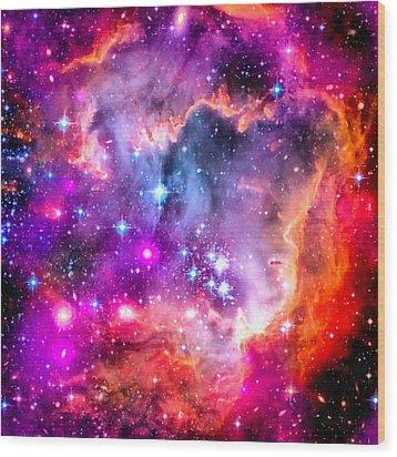Space Image Small Magellanic Cloud Smc Galaxy Wood Print by Matthias Hauser