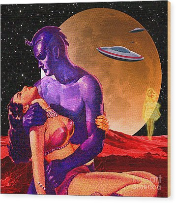 Space Love Wood Print