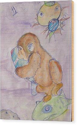 Space Monkey Wood Print by Erik Franco