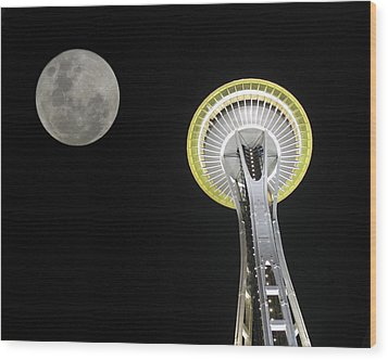 Wood Print featuring the photograph Space Needle by David Gleeson