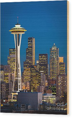 Space Needle Evening Wood Print by Inge Johnsson