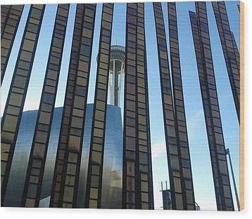 Wood Print featuring the photograph Space Needle Through Glass Fence by Karen Molenaar Terrell