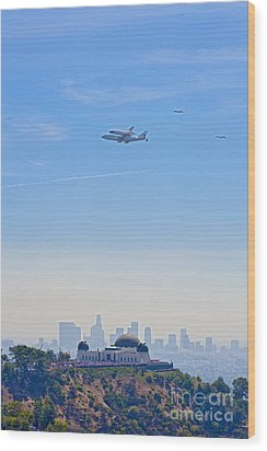 Space Shuttle Endeavour And Chase Planes Over The Griffith Observatory Wood Print by David Zanzinger