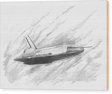 Space Shuttle Enterprise Wood Print by Michael Penny