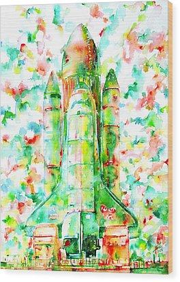 Space Shuttle - Launch Pod Wood Print by Fabrizio Cassetta