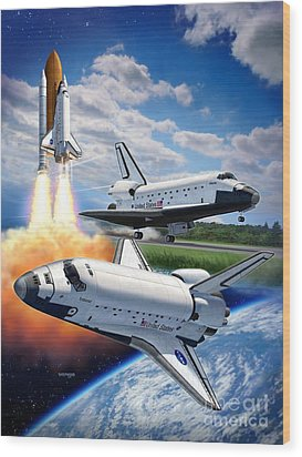 Space Shuttle Montage Wood Print by Stu Shepherd
