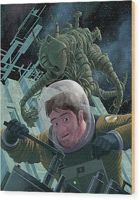 Space Station Monster Wood Print by Martin Davey