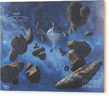 Space Station Outpost Twelve Wood Print by Murphy Elliott