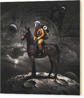 Space Tourist Wood Print by Vitaliy Gladkiy