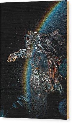 Space Turtle Wood Print by Petros Yiannakas
