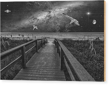 Space Walkway Wood Print by Kevin Cable