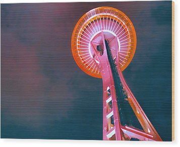 Spaced Needle Wood Print by Michael Wilcox