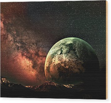 Spaced Out Wood Print by Ally  White