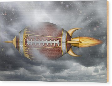 Spaceship Football Wood Print by James Larkin