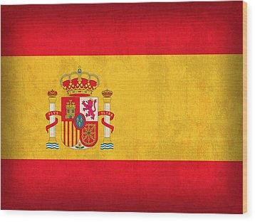 Spain Flag Vintage Distressed Finish Wood Print by Design Turnpike