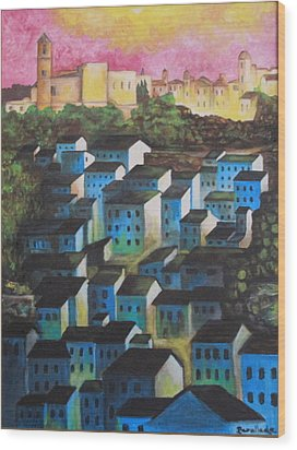 Little Town Of Spain Wood Print