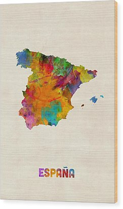 Spain Watercolor Map Wood Print by Michael Tompsett