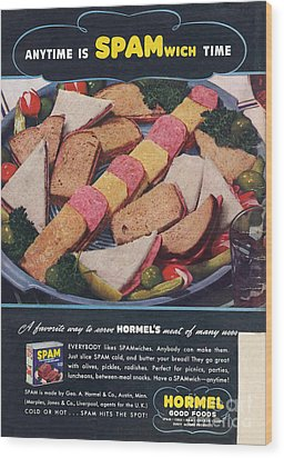 Spam 1950s Usa Hormel Meat Tinned Wood Print by The Advertising Archives