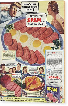 Spam 1960s Usa Hormel Meat Tinned Wood Print by The Advertising Archives