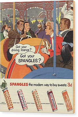 Spangles 1950s Uk Sweets Wood Print by The Advertising Archives