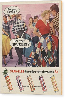 Spangles 1956 1950s Uk Sweets Party Wood Print by The Advertising Archives