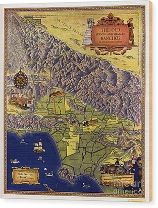 Spanish And Mexico Ranchos Wood Print by Pg Reproductions