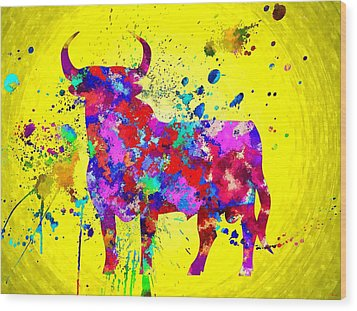 Spanish Bull Wood Print