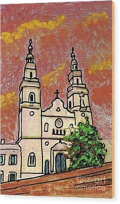 Spanish Church Wood Print by Sarah Loft