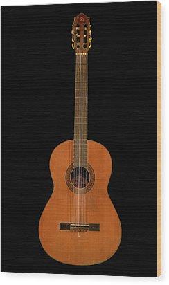 Spanish Guitar On Black Wood Print by Debra and Dave Vanderlaan
