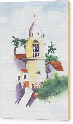 Spanish Mission Wood Print by June Holwell
