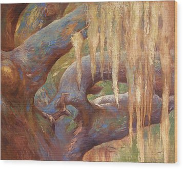 Spanish Moss Wood Print by Alla Parsons
