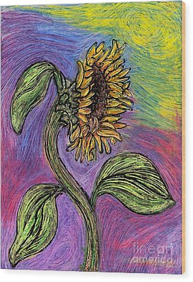 Spanish Sunflower Wood Print by Sarah Loft