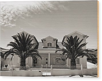 Spanish Village With Palm Trees Wood Print
