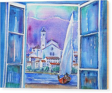 Spanish Window In Cadaques And The Church Of Santa Maria Wood Print