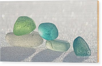 Sparkling Sea Glass Friends Wood Print by Barbara McMahon