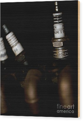 Sparkplugs On A Vintage Motorcycle Wood Print by Wilma  Birdwell