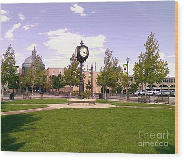 Wood Print featuring the photograph Sparks Community Clock by Bobbee Rickard