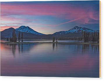 Sparks Lake Reflections Wood Print by Patricia Davidson