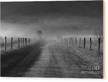 Sparks Lane In Black And White Wood Print by Douglas Stucky