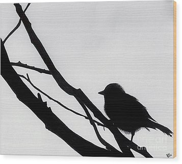 Wood Print featuring the drawing Sparrow In A Gray Sky by D Hackett
