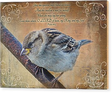 Sparrow With Verse Wood Print by Debbie Portwood