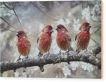 Wood Print featuring the painting Sparrows by Georgi Dimitrov