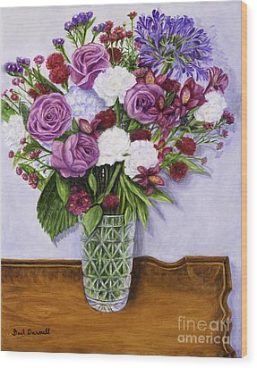 Special Bouquet In Crystal Vase On Heirloom Table Wood Print by Gail Darnell
