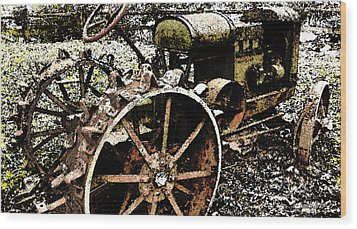 Speckled Antique Tractor Wood Print