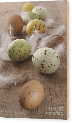 Speckled Easter Eggs  On Wooden Table  Wood Print by Sandra Cunningham